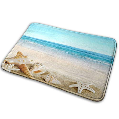 Seashells Sand Beach,Anti Slip Machine Washable Door Mats Bathroom Kitchen Rug Welcome Doormat Thicken Playmat Multi-Purpose Floorcover 31.5(L) X 19.7(W) Inch