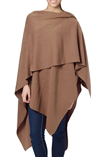 NOVICA Brown Peruvian Alpaca Wool Blend Wrap, 'Serenity' (One Size Fits Most) by NOVICA