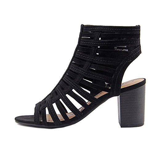 Scarpe Americane Di Struzzo Sanchie Open Toe Casual Sandali Con Il Cinturino Nero