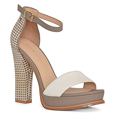 776f0d9aecf92 Tommy Hilfiger Woven Strappy Platform Sandal Heels in Khaki  Amazon.co.uk   Shoes   Bags