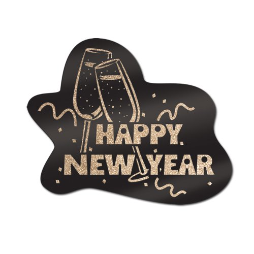 [Glittered Happy New Year Sign (black & gold) Party Accessory  (1 count)] (Happy New Year Costumes)
