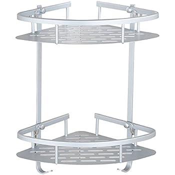 Bathroom Corner Shelf Aluminum 2 tiers Shower Storage Corner Shelves ...
