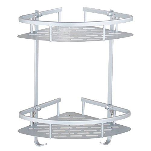 Bathroom Corner Shelf Aluminum 2 tiers Shower Storage Corner Shelves with Hooks Kitchen Corner Sticky Shelves (Bathroom Shelf 2 tiers)