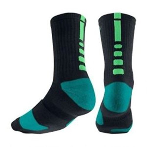 Nike Men's Elite Cushioned Basketball Crew Socks Medium (6-8) Black Teal Green