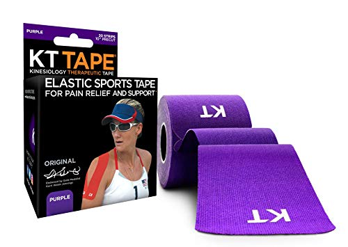 KT Tape Original Cotton Elastic Kinesiology Therapeutic Sports Tape, 20 Pre cut 10 inch Strips, Purple