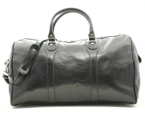 Alberto Bellucci Unisex Italian Leather Amato Carry-on Traveler Duffel Bag in Black by Alberto Bellucci