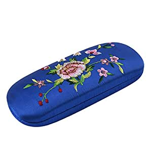 uxcell Embroidered Eyeglasses Spectacle Container Glasses Holder Case Royal Blue