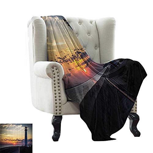 Lighthouse,Personalized Blankets Michigan Sunrise Along the Shores of Beautiful St Ignace Michigan Nautical Journey Image Print 80