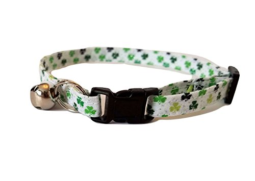 Green Shamrock on white Kitten or Cat Collar Adjustable St Patricks Day Patty Irish Fabric with bell and Break Away Buckle (M- Average Cat) by Britches4Stitches