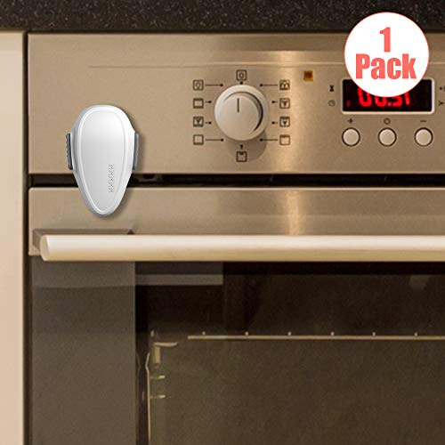 EUDEMON Childproof Oven Door Lock, Oven Front Lock Easy to Install and Use Durable and Heat-Resistant 3M Tapes no Tools Need or Drill (White)