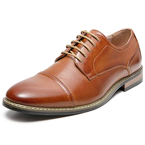 Men's Oxford Classic Cap Toe Dress Shoes Modern Lace up Leather Lined Formal Shoes for Men (10 M US, Tan2)