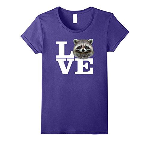Womens I Love Raccoons T-Shirt Funny Raccoon Lover Tee Small (Purple Raccoon)