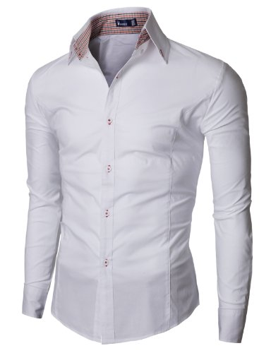 Doublju Mens Dress Shirt with Contrast Neck Band WHITE (US-XS)