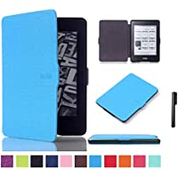 Brain Freezer J Lichi Design Faux Leather Magnetic Lock Auto Sleep/Wake up Ultra Slim Flip Case Cover with Stylus Pen for Amazon Kindle Paperwhite Tablet (Exotic Blue)