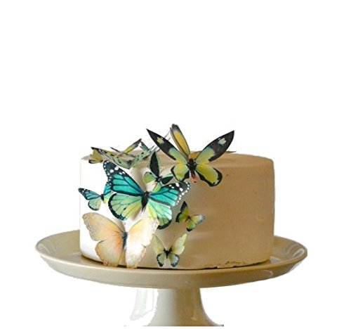 Edible Butterflies © - Assorted Green Set of 15 - Cake and Cupcake Toppers, Decoration