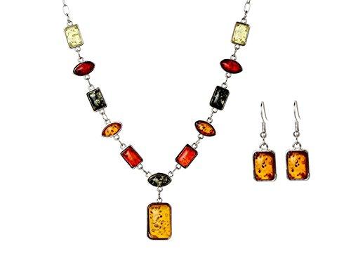 Parure Collier Pendentif et Boucles d'Oreilles Pendantes Crochet en forme Rectangulaire Ensemble, Ambre Simulée et Plaqué Argent