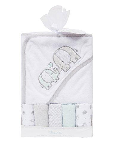 Ataya Baby Hooded Bath Towel Washcloth Set, Lovely Animal Embroidery Pattern, 5+1 Gift Pack(elephant)