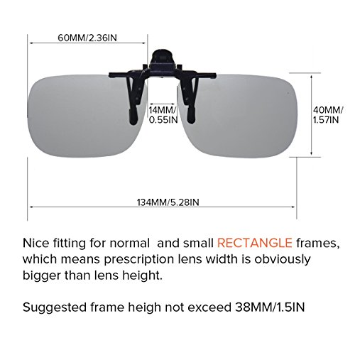 Amazon.com: Wangly Polarized Rectangle Photochormic Clip On Flip Up ...