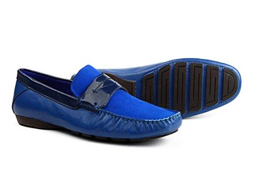 Herren Lederschuhe Herrenschuhe Nubukleder Freizeitschuhe Lounger Schuhe Herrenschuhe ( Farbe : Weiß , größe : EU 41/UK7 ) Royal Blue