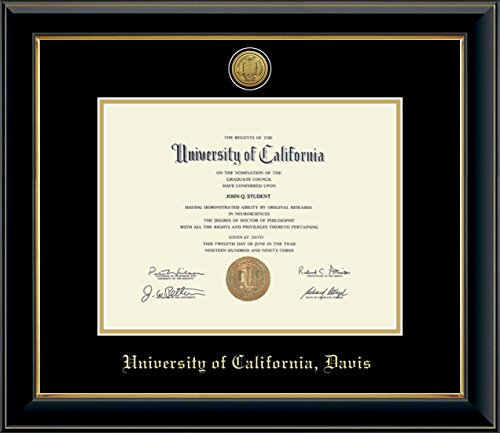 Church Hill Classics UC Davis Gold Engraved Medallion Diploma Frame - Features Solid Hardwood Onyx Gold Moulding - Officially Licensed - 8.5