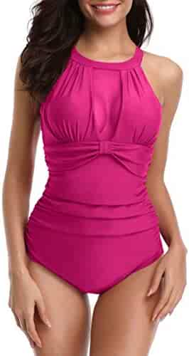 110bac0f51eb YD YONGDONG Ruched Tummy Control One Piece Swimsuits for Women Halter V  Neck Bathing Suits Swimwear