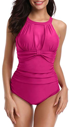 Yong Dong Bathing Suits for Women High Neck One Piece Swimsuits Halter Swimwear Hot Rose XL (Hot Bathing Suits)