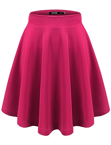(TWINTH Women Versatile Flare Stretch Wide Band Skater Skirts Magenta Small)