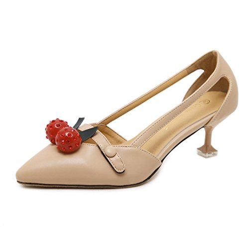 L@YC Women'S High Heels Fall Bead With 5cm Pointed Shallow Sandals Yellow