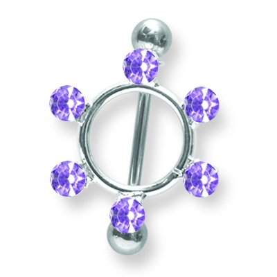 Jewelry by Sweet Pea Surgical Stainless Stl BB w Gem Nipple Shield