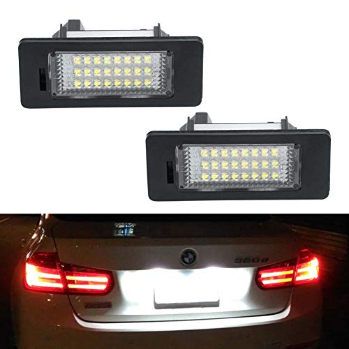 License Plate Light, GemPro 2pcs LED License Plate Lamp Assembly for BMW 1 3 5 Series X1 X3 X5 X6 M3, Powered by 24-SMD Error Free Xenon White LED Lights ()