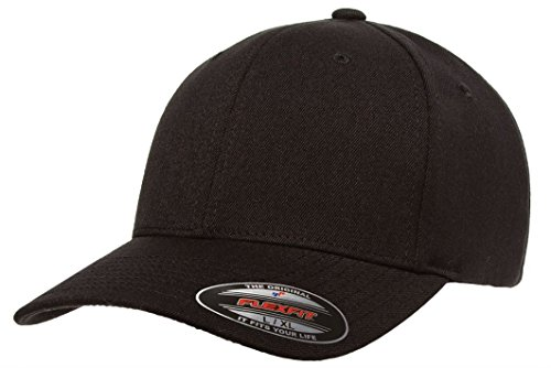 Flexfit Premium Original Pro-formance Solid Blank Baseball Fitted Cap-6580 (Black-L/XL) (Hat Baseball Fitted Plain)
