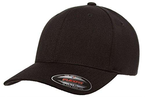 Flexfit Premium Original Pro-formance Solid Blank Baseball Fitted Cap-6580 (Black-L/XL) (Plain Baseball Hat Fitted)