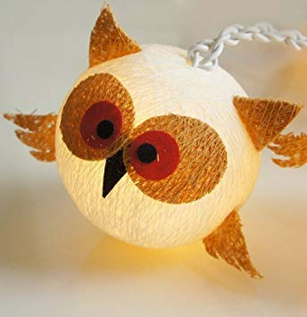 Night Lights Lucky Owl Cotton String Lights for Childern Bedroom Decoration 20 Lights/set by Thai Decorated