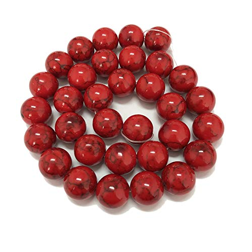 skyllc 12mm Red Turquoise Beads Round Loose Stone Beads Gemstone Jewelry Making for DIY Necklaces Bracelets Earrings