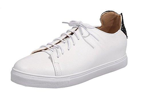 AgooLar Femme Lacet Fermeture d'orteil à Talon Bas PU Cuir Chaussures Légeres Blanc r0DnEa0Y8