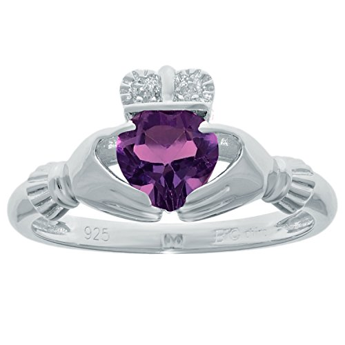 .67 Ct Heart Natural Purple Amethyst Diamond 925 Sterling Silver Ring Size 7