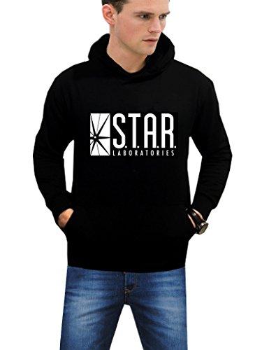 Outfitter Jackets Men's Navy Star Laboratory Logo Black Pullover Fleece Hoodie (XXL, (Logo Fleece Pullover Jacket)