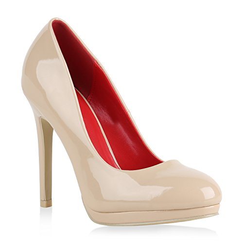 Stiefelparadies Damen Pumps High Heels Klassische Abendschuhe Stiletto Lack Schuhe Flandell Creme