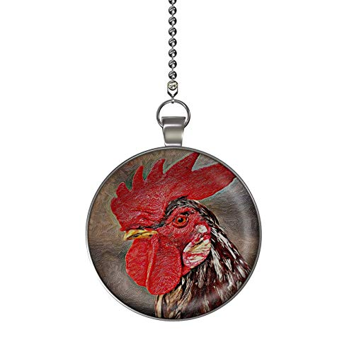Gotham Decor Rooster Portrait Fan/Light Pull Pendant with Chain