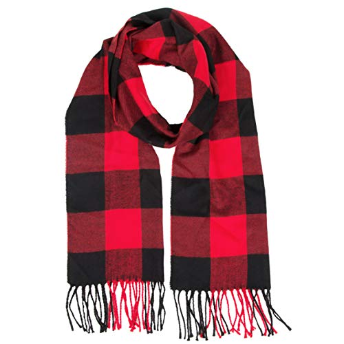 Cashmere Feel Buffalo Checkered Plaid Warm Winter Unisex Scarf Men