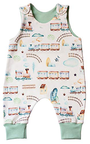 Choo-Choo Train Gender Neutral Baby Clothes. Earth Tones Organic Baby Cothing. Newborn Baby Romper.Infant boy Gift. (3 Months)