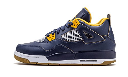 Custom Air Jordan Shoes - Jordan Air 4 Retro BG Big Kid's Shoes Midnight Navy/Metallic Gold/Gold Leaf/White 408452-425 (6 M US)