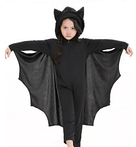 Children's Bat Costume Halloween (Kids Unisex Vampire Bat Costume, Jumpsuit Halloween Cosplay Costume, Party Animal Costume Outfits, Long Section,with Gloves (M))