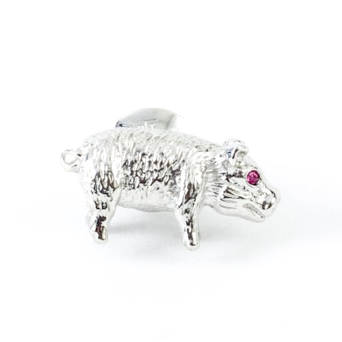 Tateossian Men's Rhodium Plated Red Swarovski Pig Tie Pin by Tateossian (Image #5)