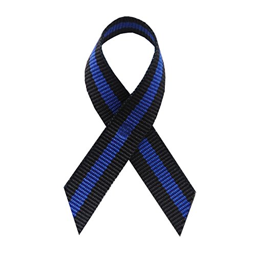 250 USA Made Thin Blue Line Fabric Awareness Ribbons - Bag of 250 Lapel Ribbons with Safety Pins (Many Colors Available)