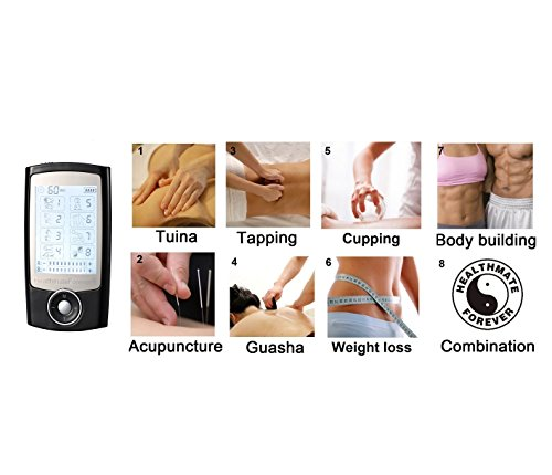 Lifetime Warranty FDA cleared HealthmateForever TENS unit Pro-8AB 8 modes pain relief electrotherapy device Best Back Neck stress Neck Sciatic Pain Relief portable unit handheld full body palm plus digital pulse impulse mini micro massager machine pa...