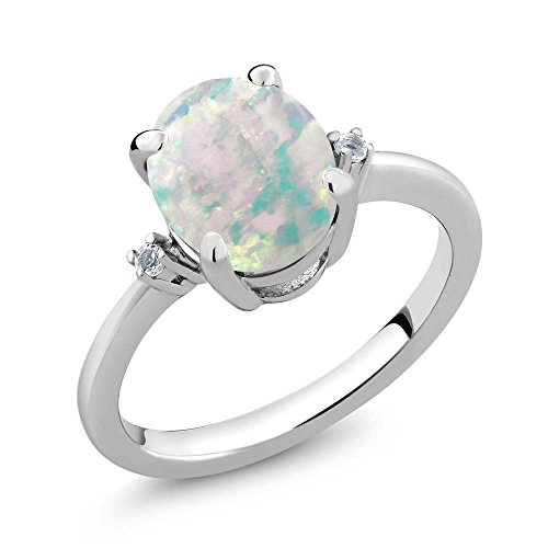 Oval 3 Stone Cabochon Ring - 2.16 Ct Oval Cabochon White Simulated Opal & White Diamond 925 Sterling Silver 3-Stone Women's Ring (Ring Size 8)