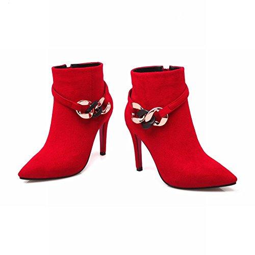 Mee Shoes Damen Stiletto Nubukleder Reißverschluss Ankle Boots Rot
