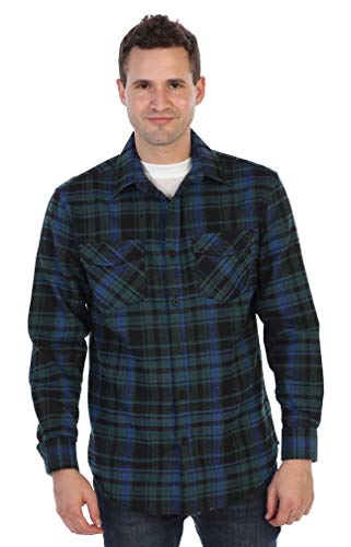 Gioberti Men's Plaid Checkered Brushed Flannel Shirt, Green/Black/Royal Blue, Medium ()