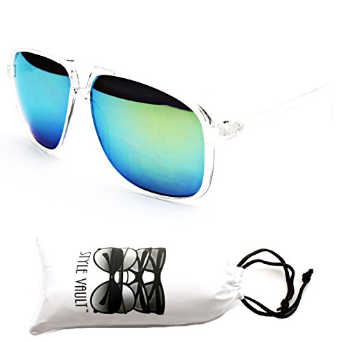 A160-vp Style Vault Turbo Aviator Sunglasses (Fi Clear-Green Mirror, - School Old Aviator Sunglasses